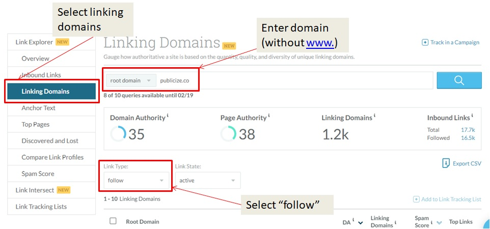 Moz linking domain search screenshot