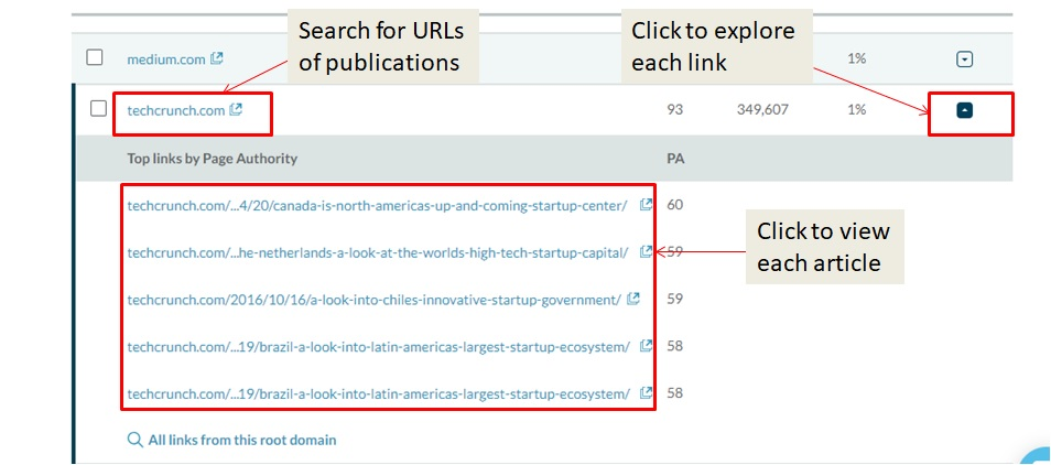 Moz publication search screenshot