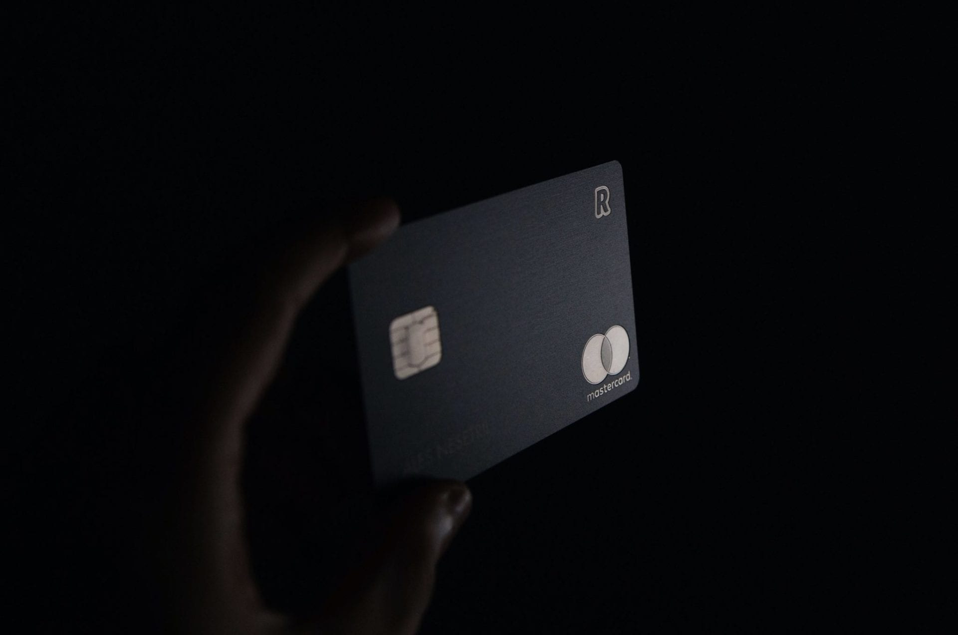 black credit card in hands