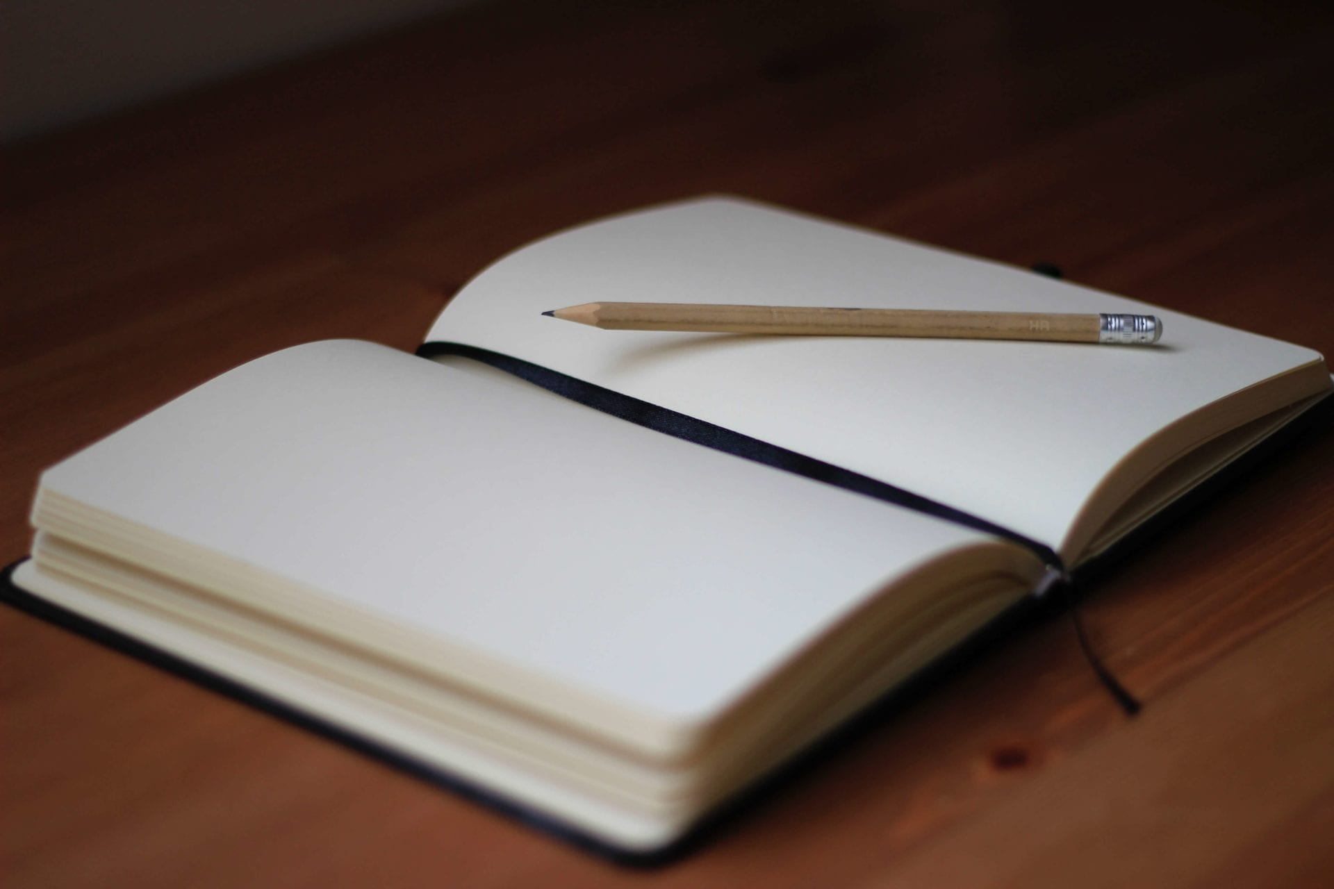 empty notebook with a pencil
