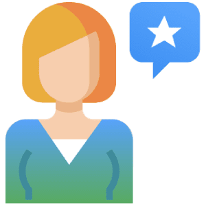 women with speech bubble with star