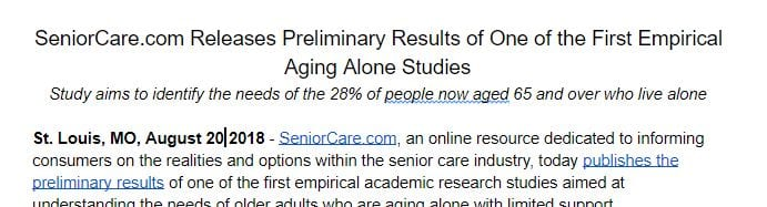 Seniorcare press release example