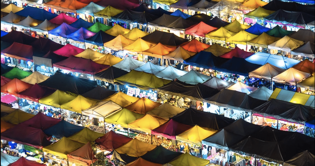 multi-colored tents
