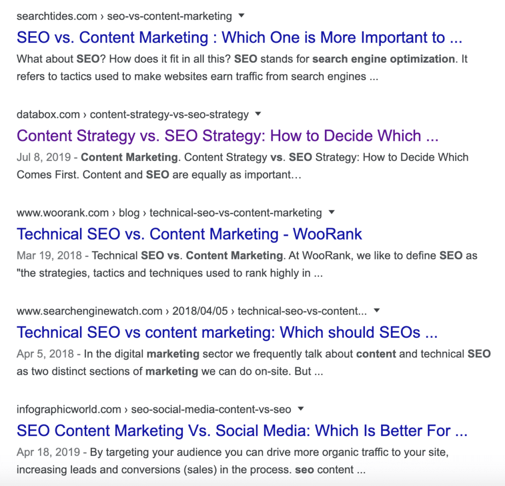 google search content marketing vs seo